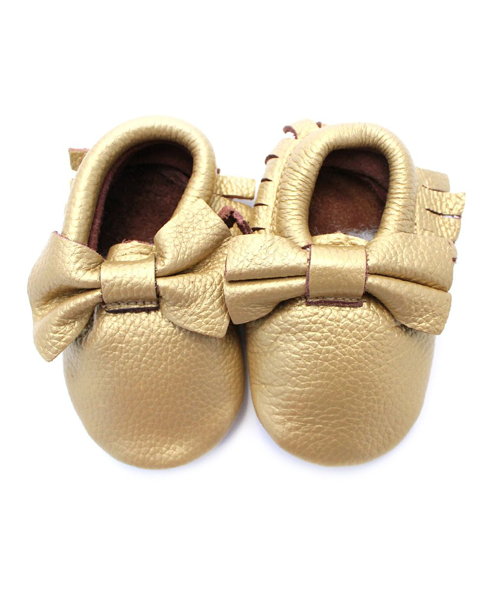 Gold Bow Leather Moccasins
