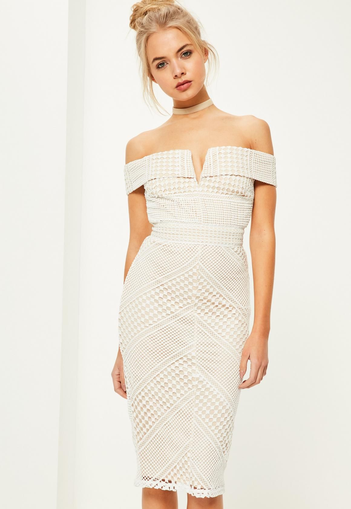 Amor sweetheart bardot midi dress in white and pink