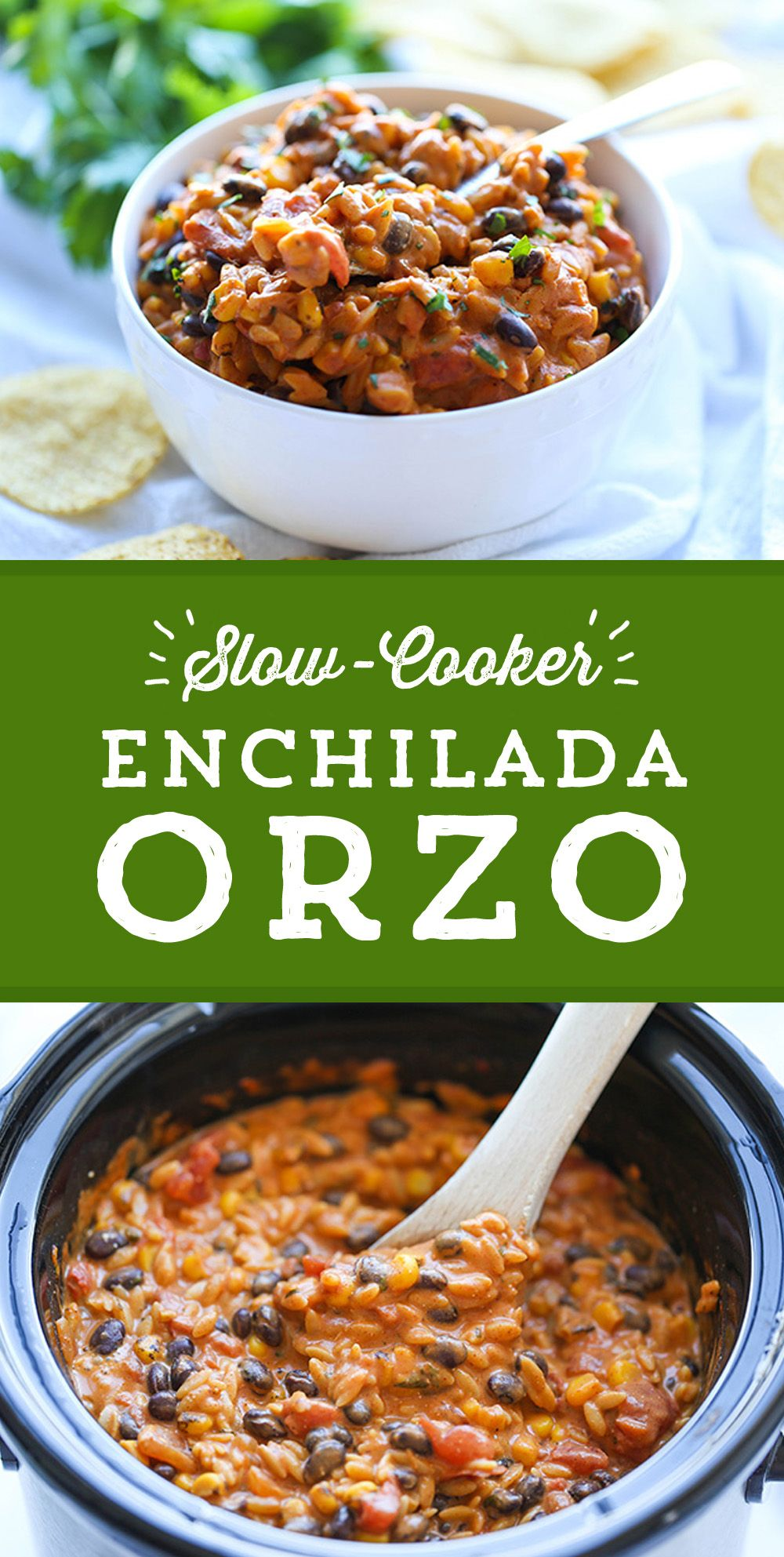 Easy weeknight meal idea! This delicious Slow Cooker Enchilada Orzo from @damndelicious couldn't be easier! Just 10 minutes prep, set it in the Slow Cooker in the morning, and forget it! The creamiest, cheesiest enchilada orzo will be ready just in time for dinner!