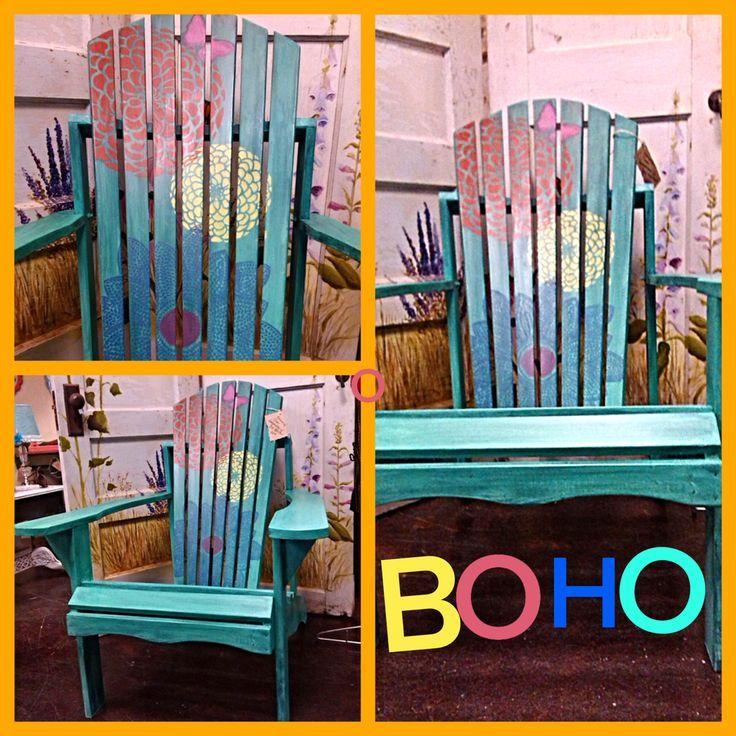 Adirondack Chair Painted with Real Milk Paint. Zinnia Grande Flower Stencil from Cutting Edge Stencils www.cuttingedgestencils.com