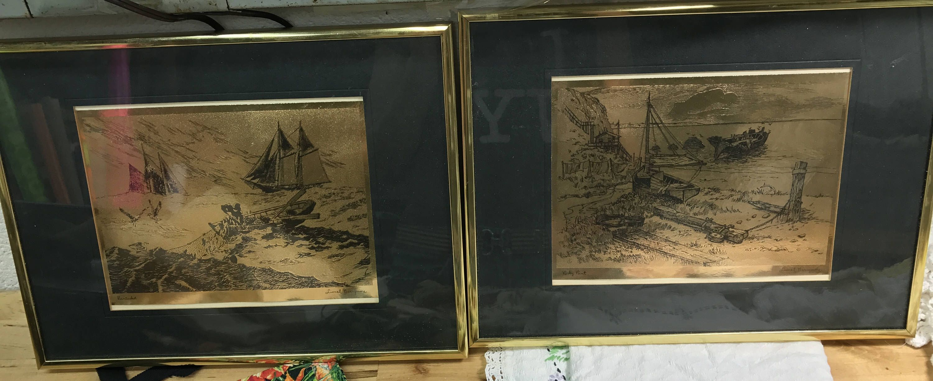 Gold foil etchings lionel barrymore art rocky point