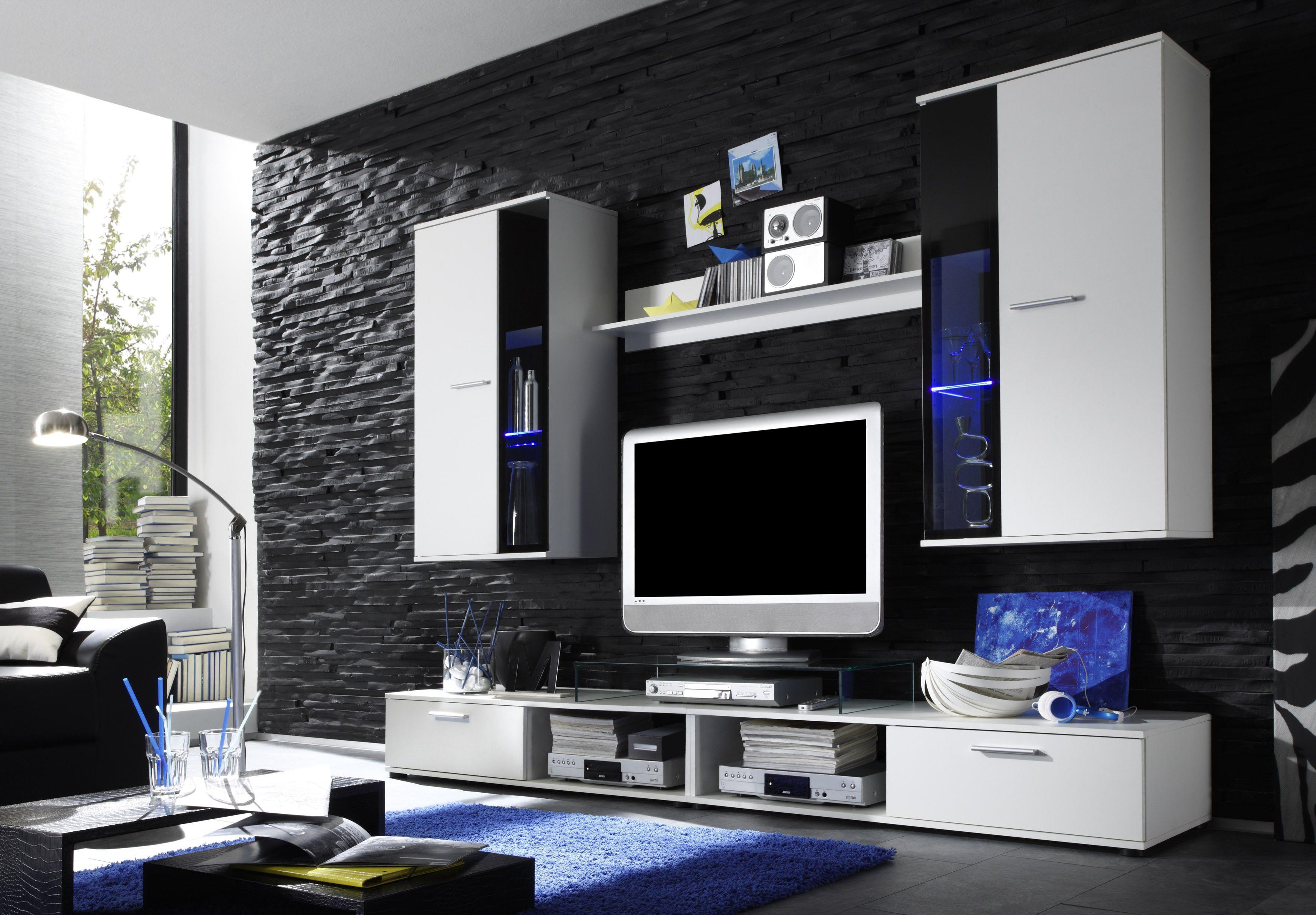 Wohnwand hängend modern schwarz  Wohnwand In Weiß/ Abs. Schwarz Inkl. Beleuchtung Woody 93-00142 ...
