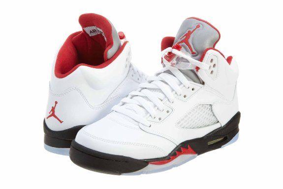 newest 19f66 0a31d Amazon.com  Air Jordan Retro 5 White Fire Red Kids Grade School (GS) 440888- 100  Shoes