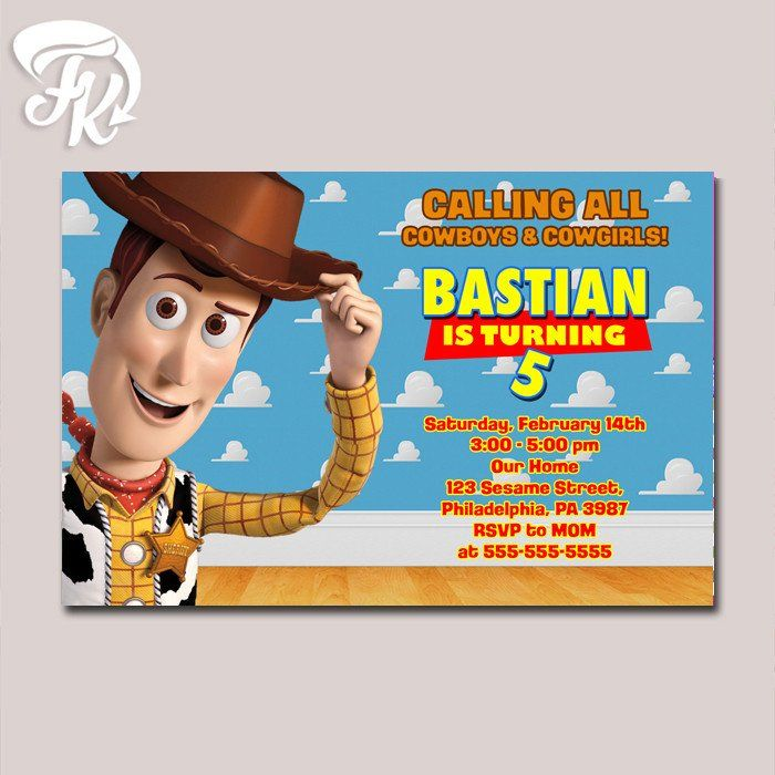 Cowboy Woody Toy Story Birthday Party Card Digital Invitation Kid