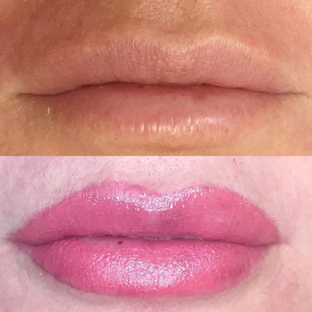 Obsessing over this before and After. . . #mua #permanentlipstick #lipblushing #beautiful #makeup #love #eyes #lipstick #gloss #eyebrows #lipblush #skin #beauty #lipblushing&nb