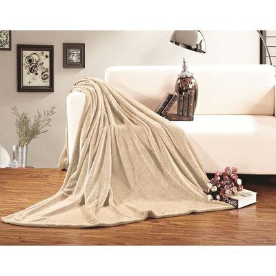 ELEGANT COMFORT All Season Super Plush Luxury Fleece Throw Blanket Color: Beige, Size: King/California King