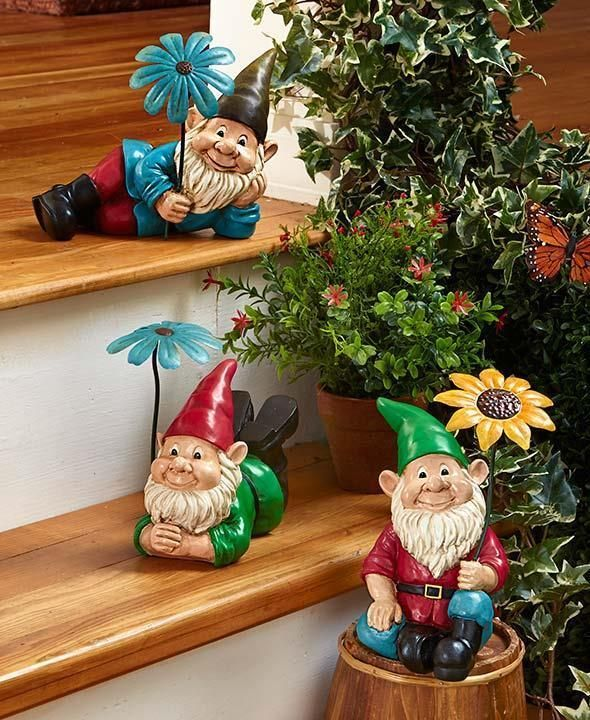Adorable Gnome Garden Statues ~ Outdoor Yard Statue Figures W/ Flowers Decor