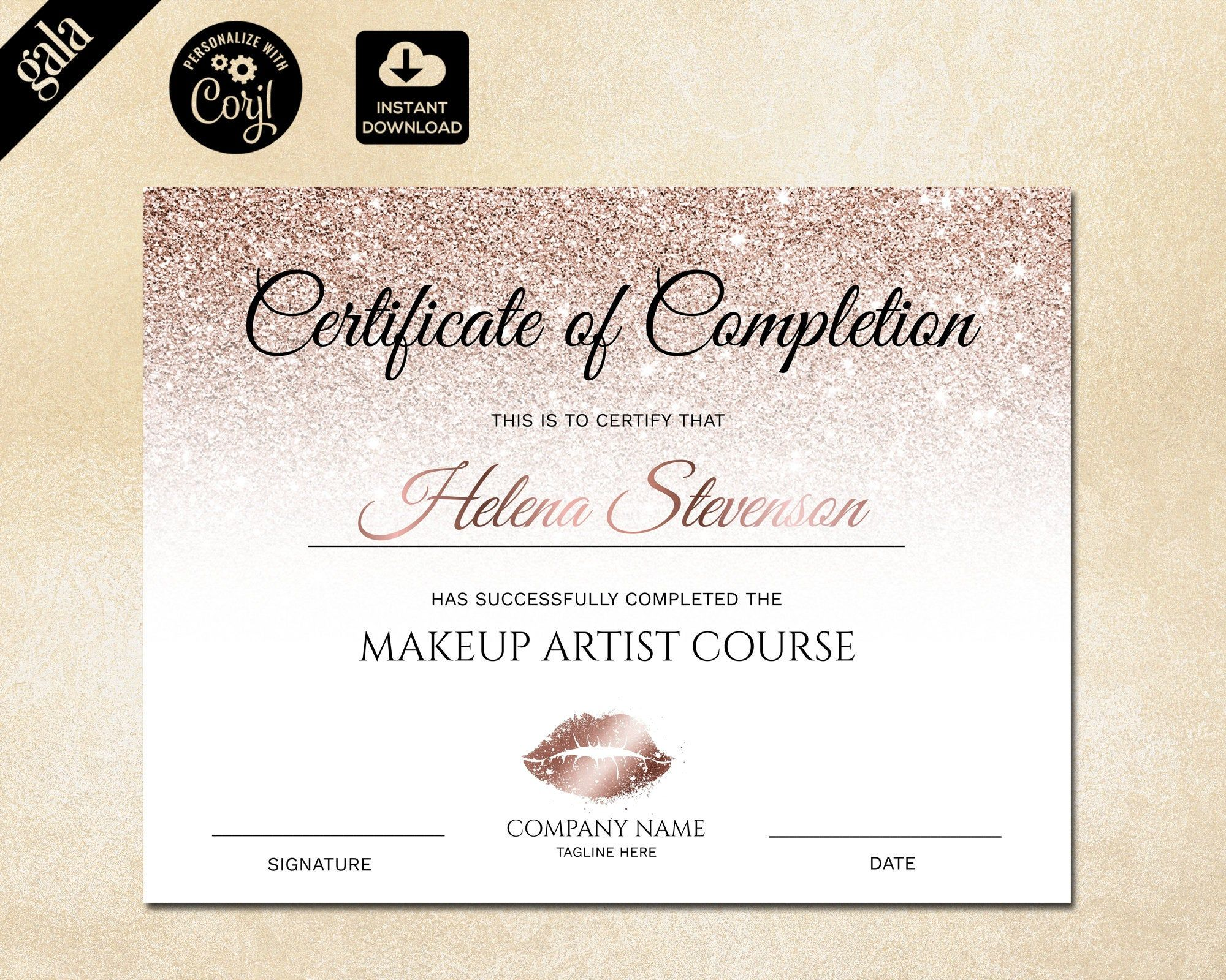 Certificate Of Completion Makeup Certificate Template Rose Etsy Certificate Of Completion Certificate Templates Custom Soap Labels Make a certificate of completion