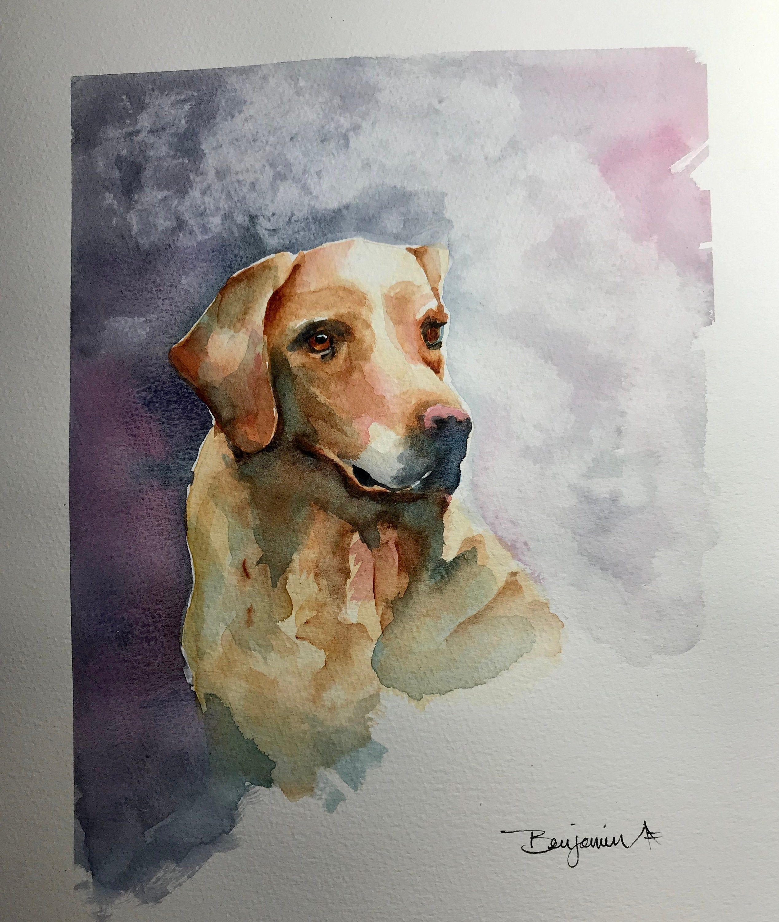 Dog Wall Art Original Watercolor Painting Watercolour Landscape