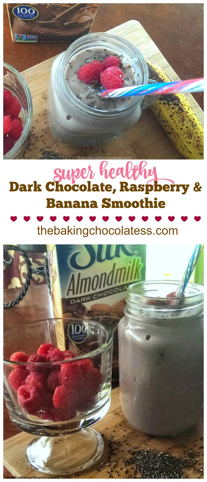 Super Healthy Dark Chocolate, Raspberry & Banana Smoothie {Greek Yogurt, Chia Seeds & Protein!}