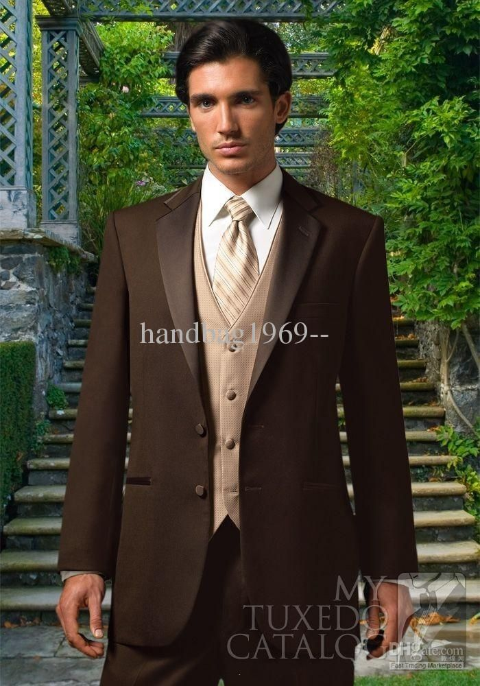 Chocolate Brown Notch Lapel Groom Tuxedos Best Man Suits Groomsmen ...