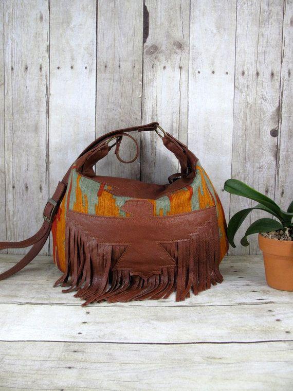 Brown Leather Bag, Thunderbird Hobo, Leather Fringe Bag, Navajo Cross Body on Etsy, $260.00