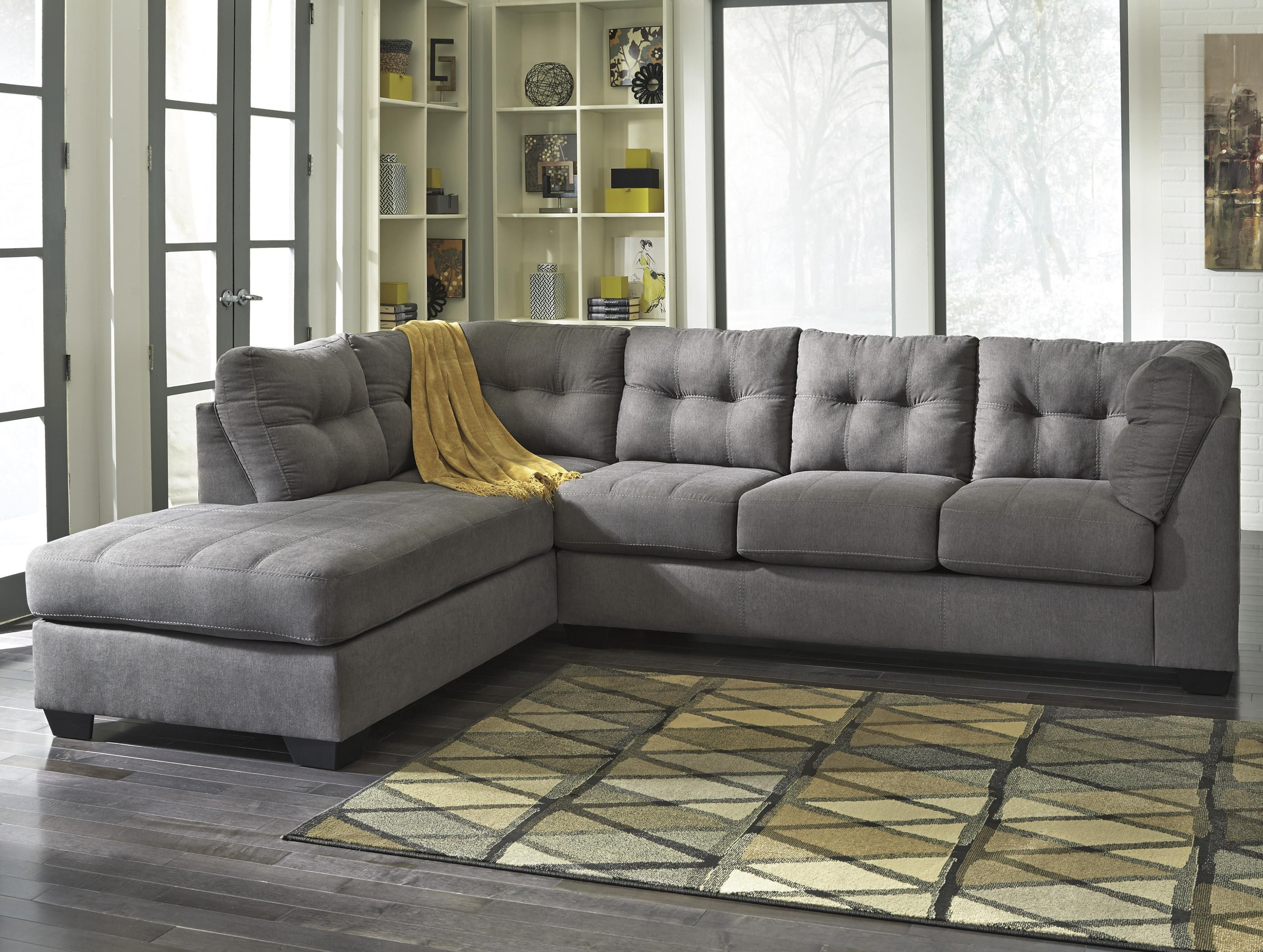 Meubles Ashley Divan Maier Charcoal 2 Piece Sectional With Left Chaise By Benchcraft
