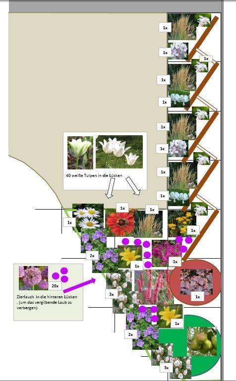 Gartenplanung Hamburg pflanzplan das beet umrahmt ein holzdeck rechts schräg gestelle