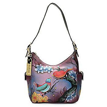 bcb81c948e Anuschka Hand-Painted Leather Zip Top Dual Side Pocket Hobo Handbag ...