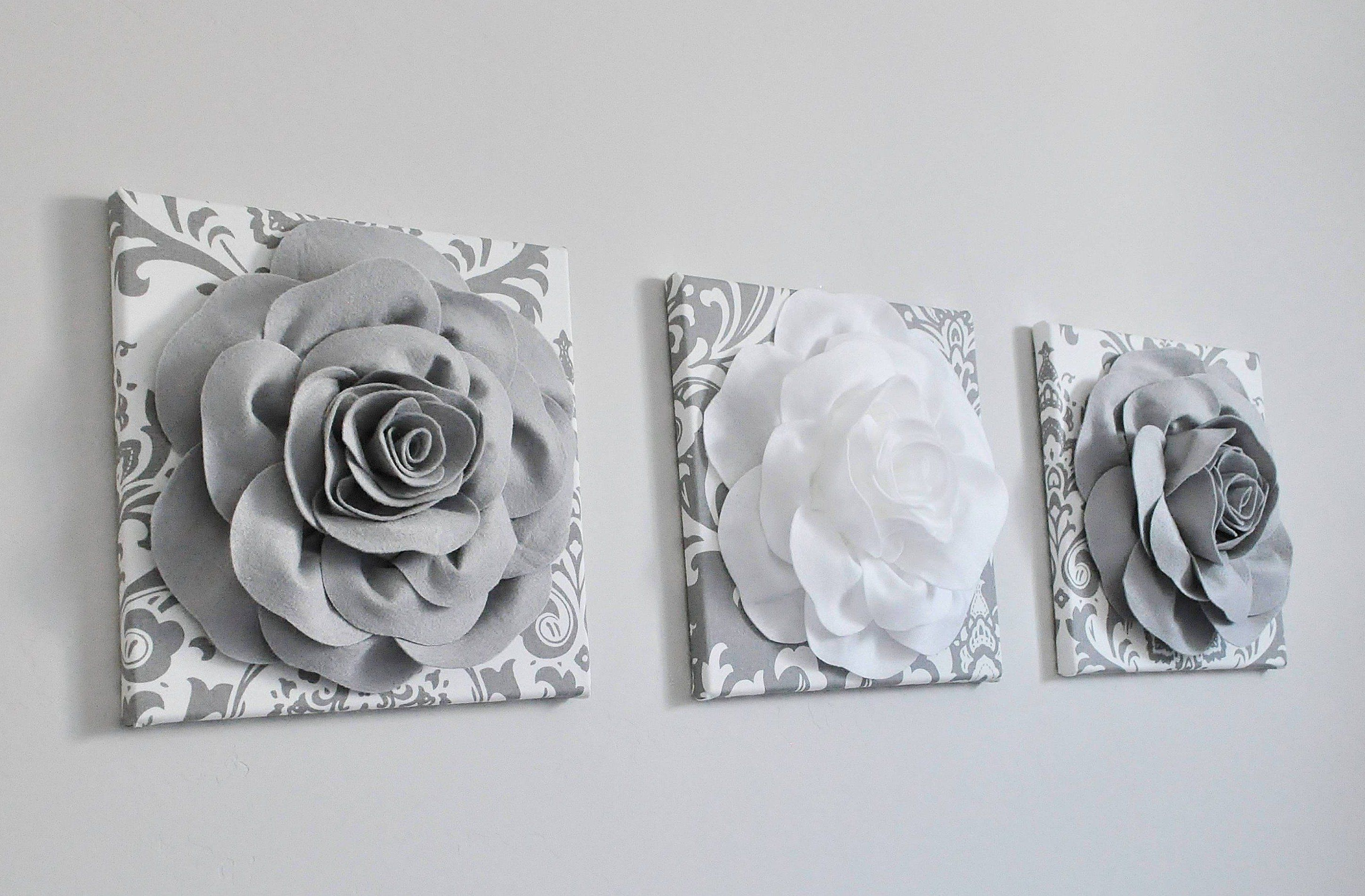 Gray and White Rose Canvas Wall Art Set of 3 - Default Title