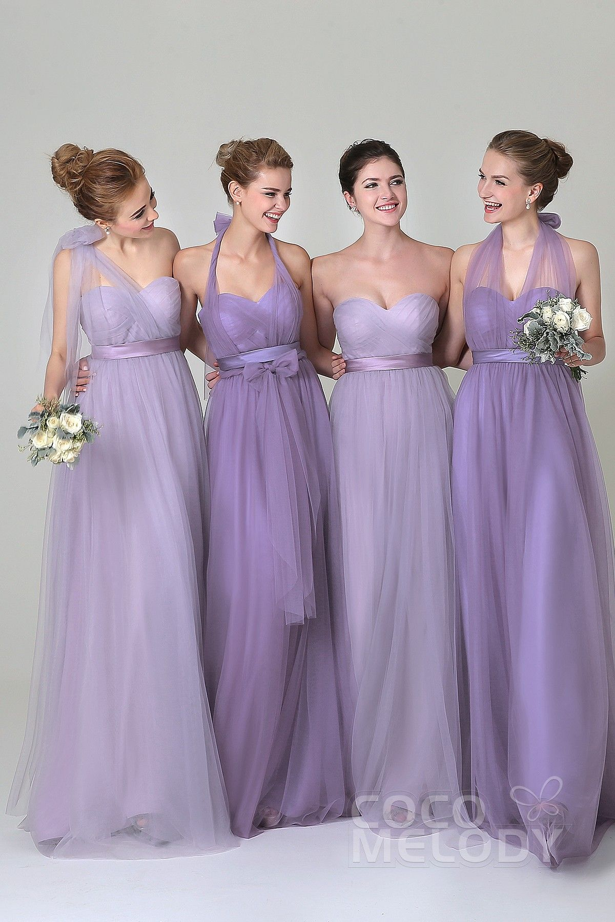 Sheath Column Floor Length Tulle Bridesmaid Dress Cozf1500b In