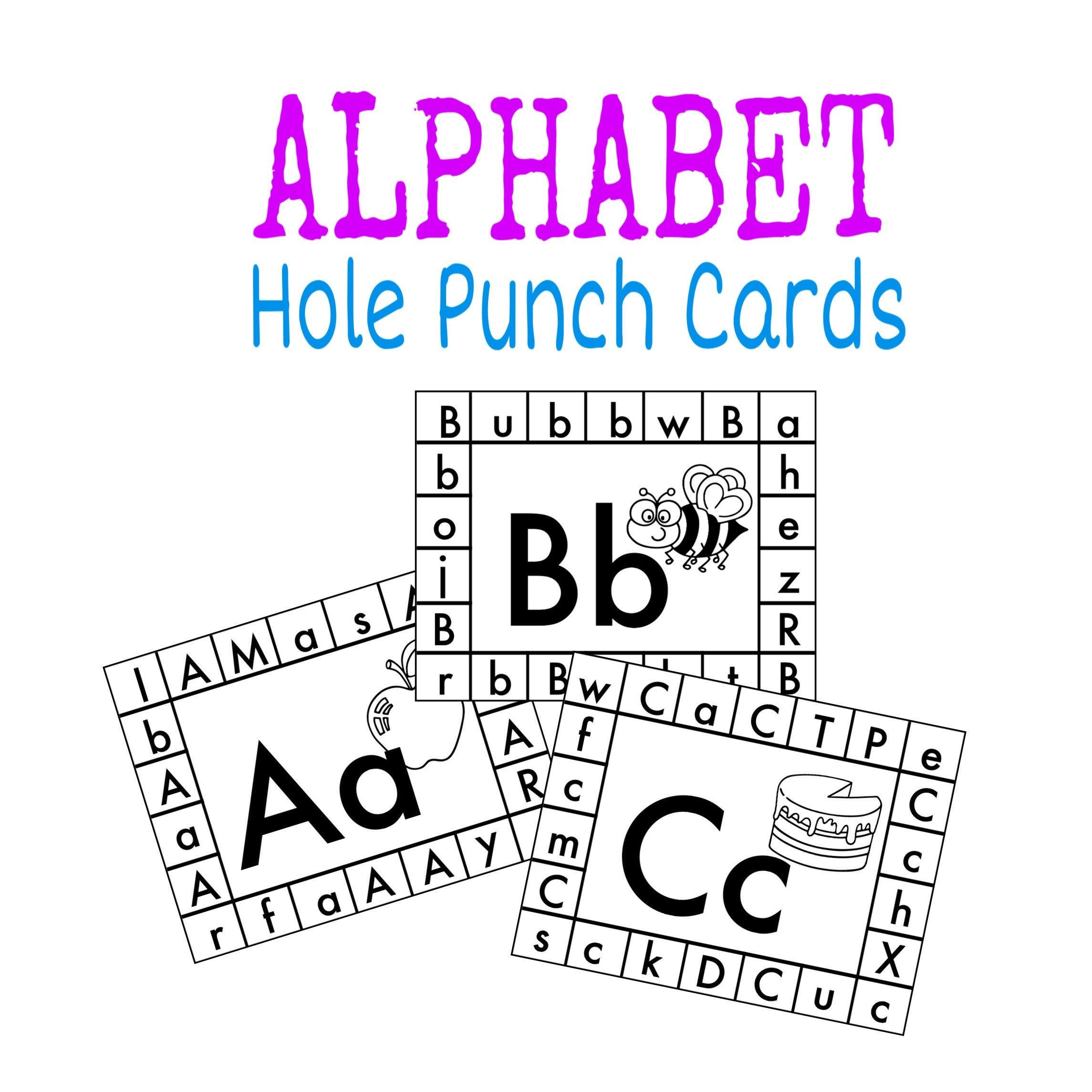 Alphabet Hole Punch Cards A Z Worksheets Preschool