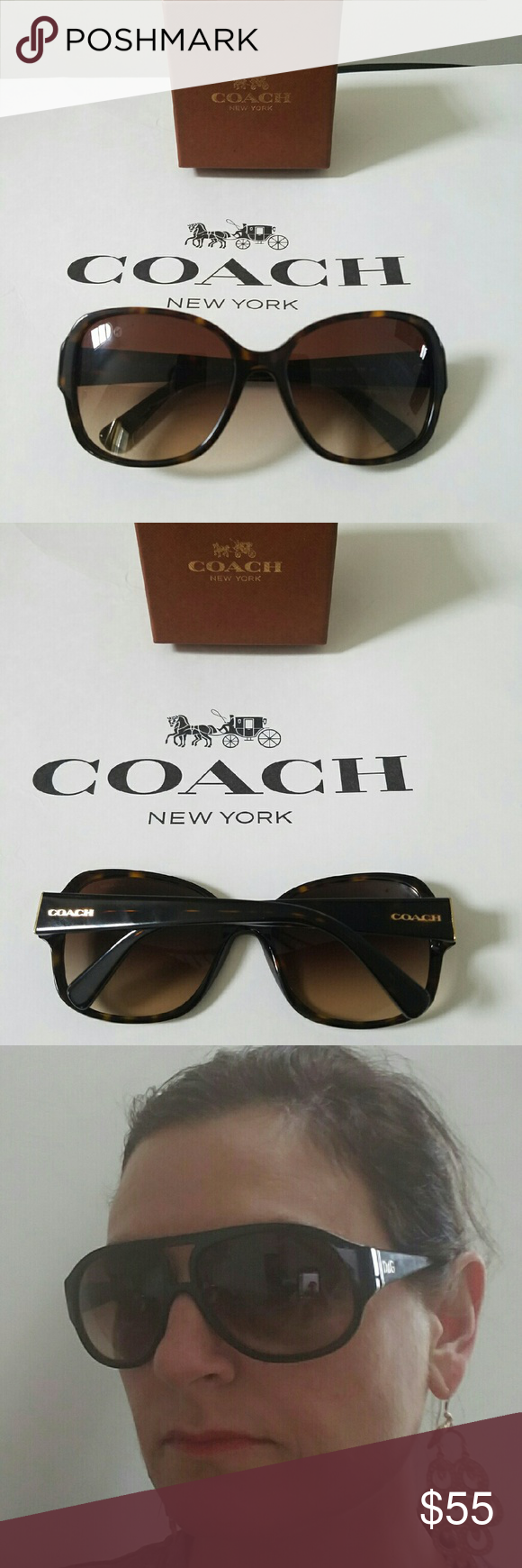 NWOT Coach sunglasses. Bought for my teen for xmas, she never wore and in 100% mint condition. She did keep the case. Coach HC 8166 sunglasses. Color 5120T5 Dark Tortoise shell brown gradient polarized lens. Coach Accessories Sunglasses