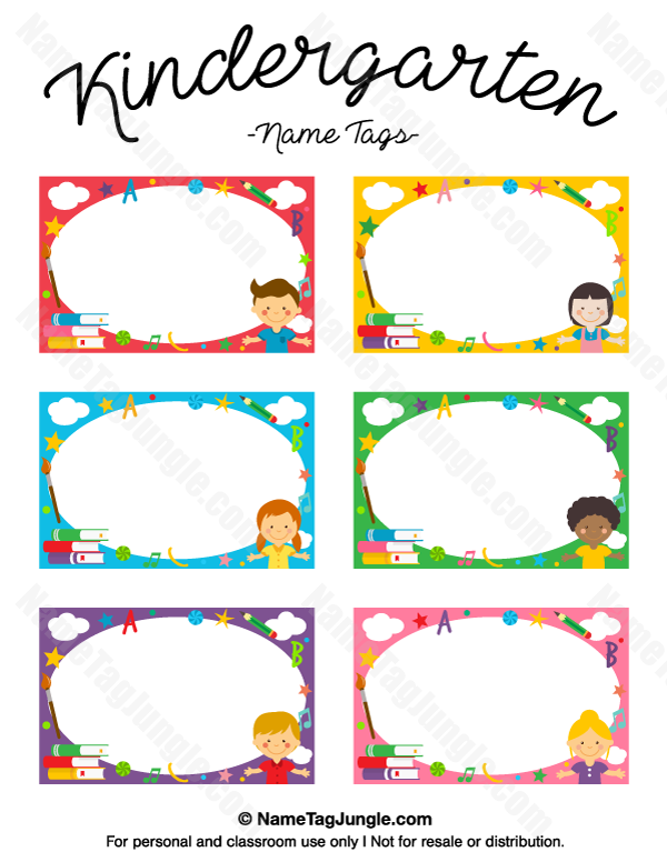 Kindergarten name tags name tags at for Preschool name tag templates