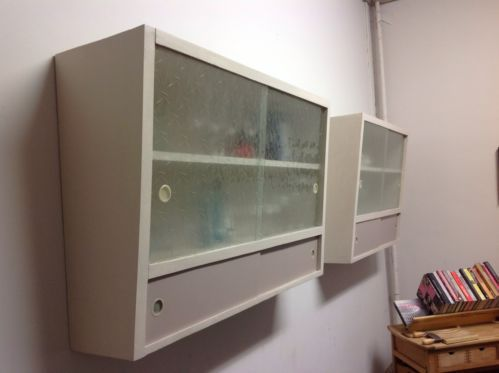 Wall Cupboards two retro vintage 1950's 60's shabby chic kitchen wall cupboards