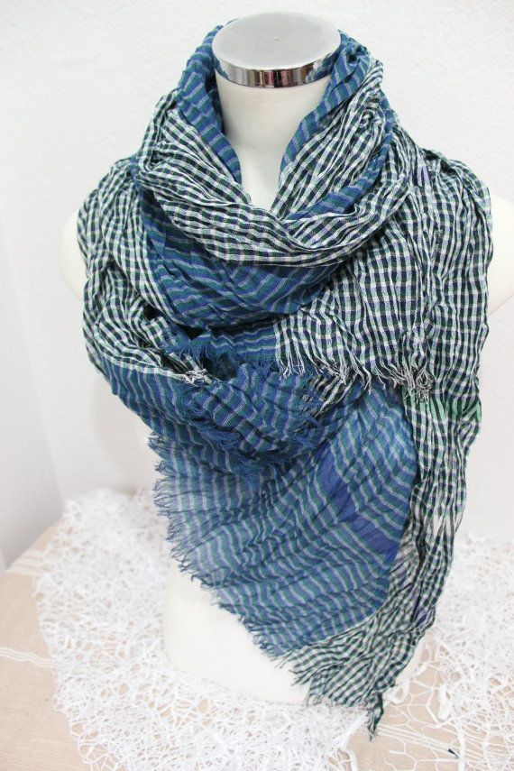 Blue Mens Scarf Checkered Scarfs Blue /& White Cotton Scarves for Men