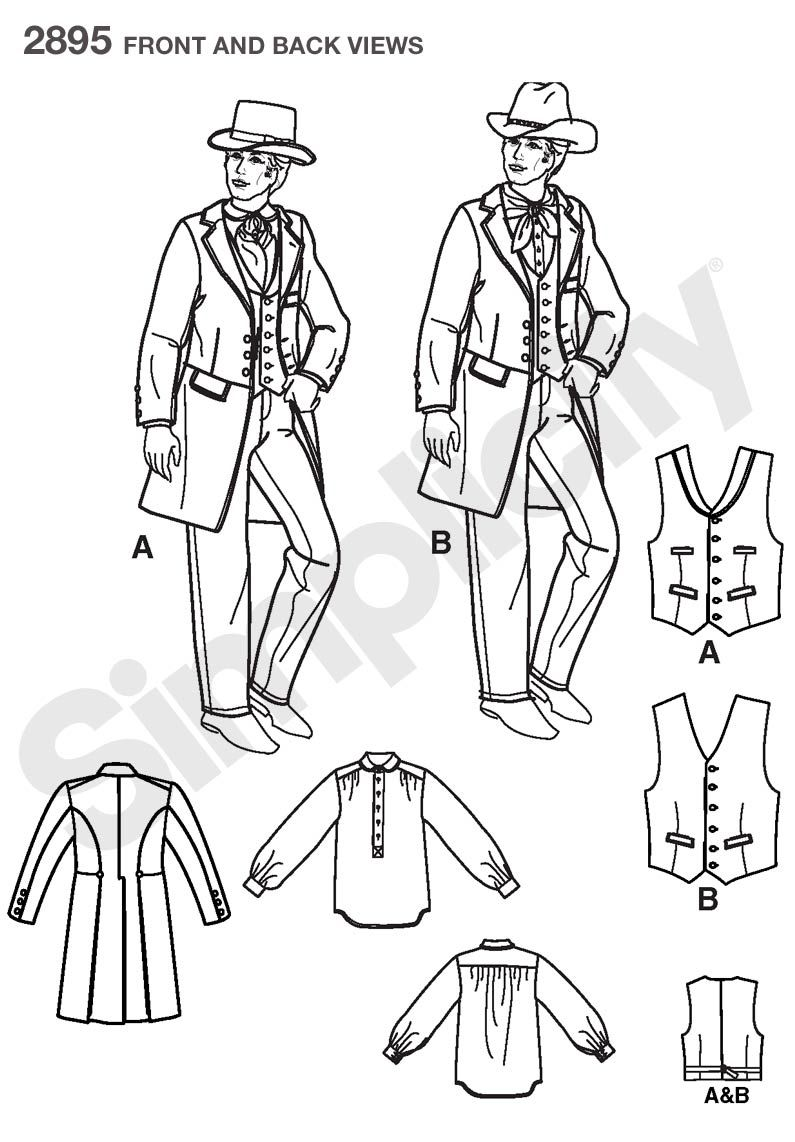 Mens Frock Coat, Shirt Costume Sewing Pattern 2895 Simplicity Howl\'s ...