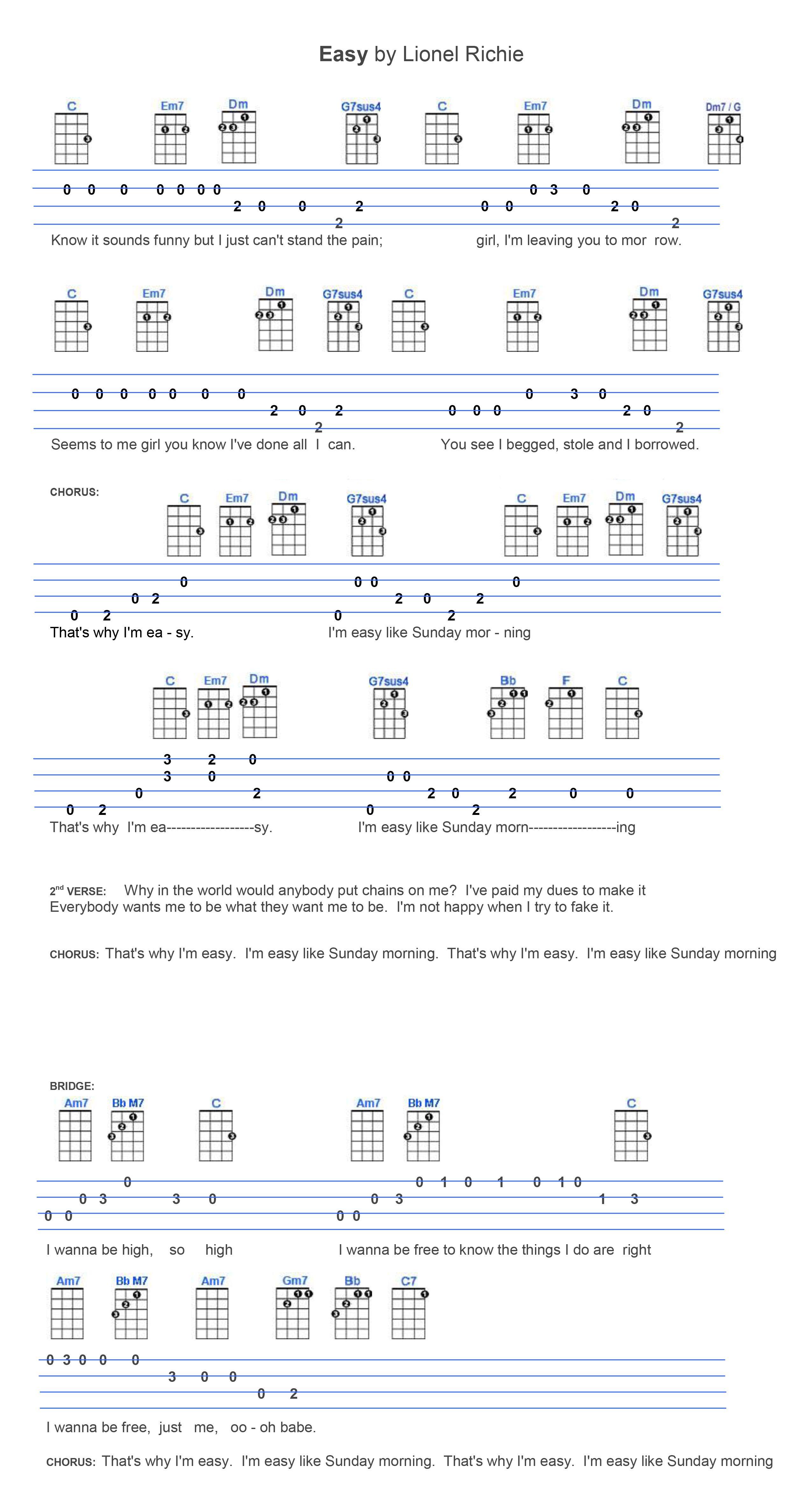 Easy By Lionel Richie Ukulele Lesson Ukulele Songs Ukulele