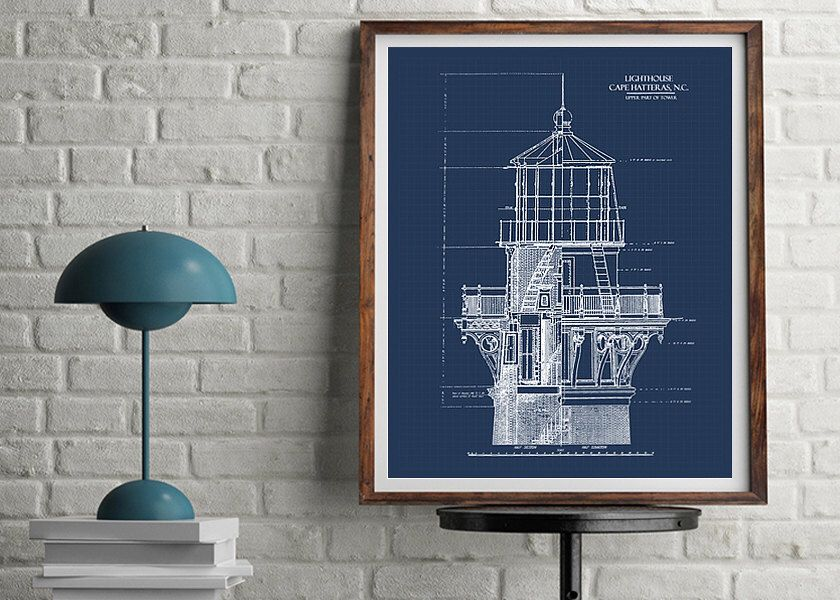Lighthouse blueprint blueprint art download nautical decor lighthouse blueprint blueprint art download nautical decor blueprints printable art malvernweather