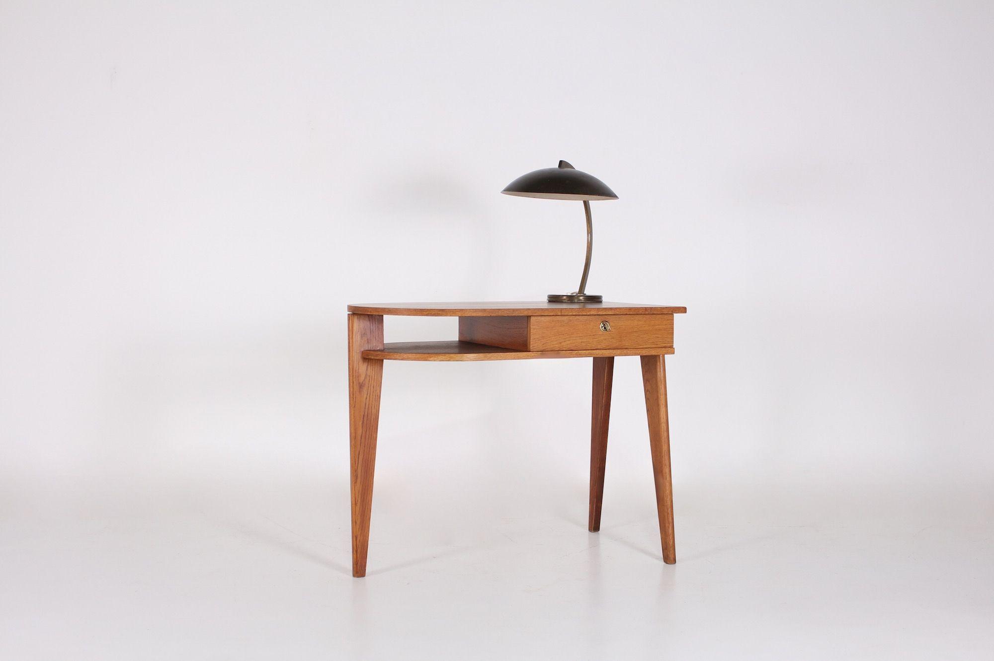 Jacques Adnet Bureau Tripode Moderniste Meubles Vintage Liege Meubels