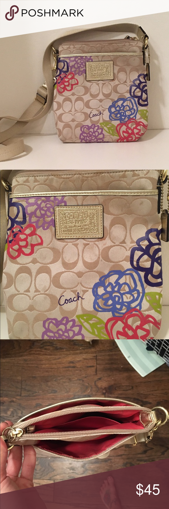 Coach satchel Adorable coach satchel. Some mild signs of wear, but in excellent condition as it was used very few times. 3 compartments with a small little side pocket on the inside for keys, cards etc.... Coach Bags