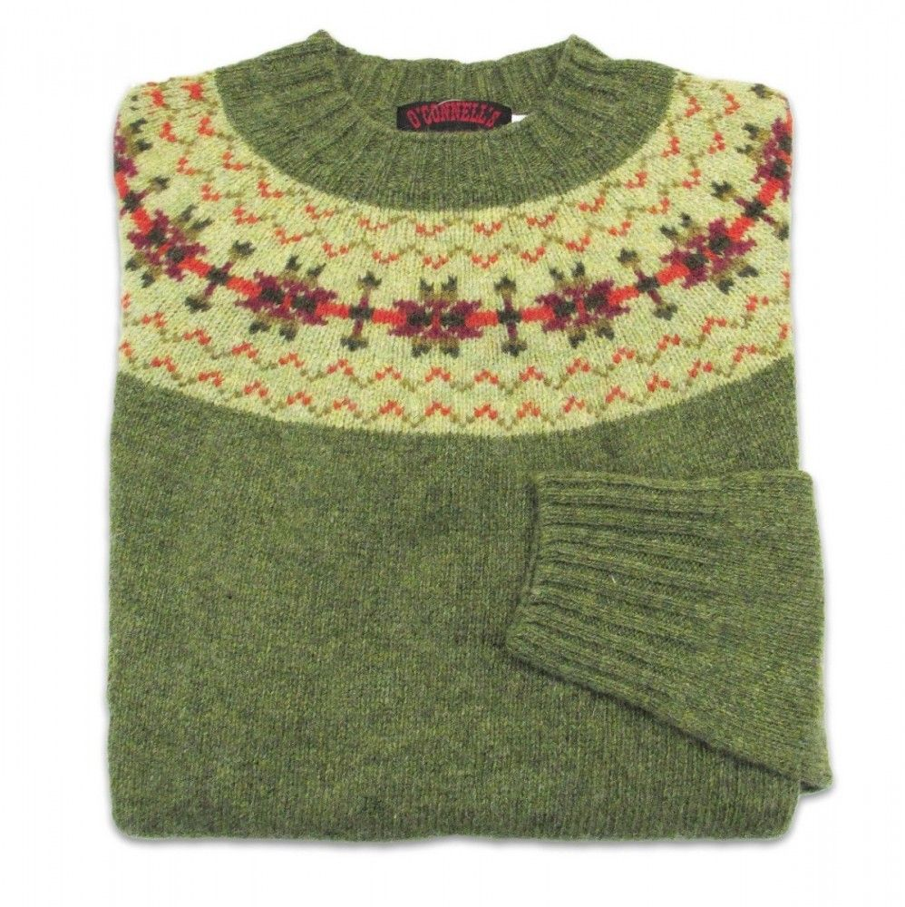 O'Connell's Womens Scottish Shetland Sweater - Fair Isle - Olive ...