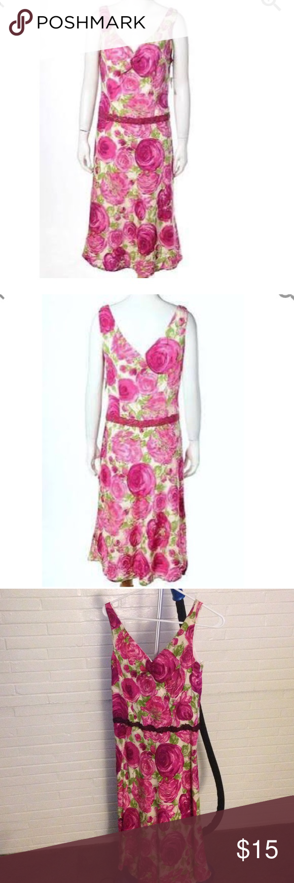 Tessuto pink silk dress w/ floral print Like new pink floral dress. Lace around the waist and slight ruching between the breasts. Tessuto Dresses