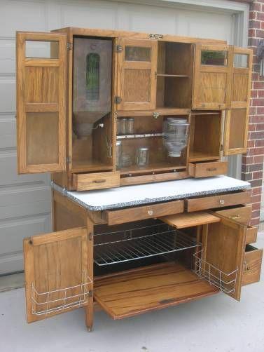 Oak Hoosier Style Mcdougall 48 Wide Cabinet W Flour Bin Pie Racks Spice Set Furniture Cabinet Vintage Cabinets