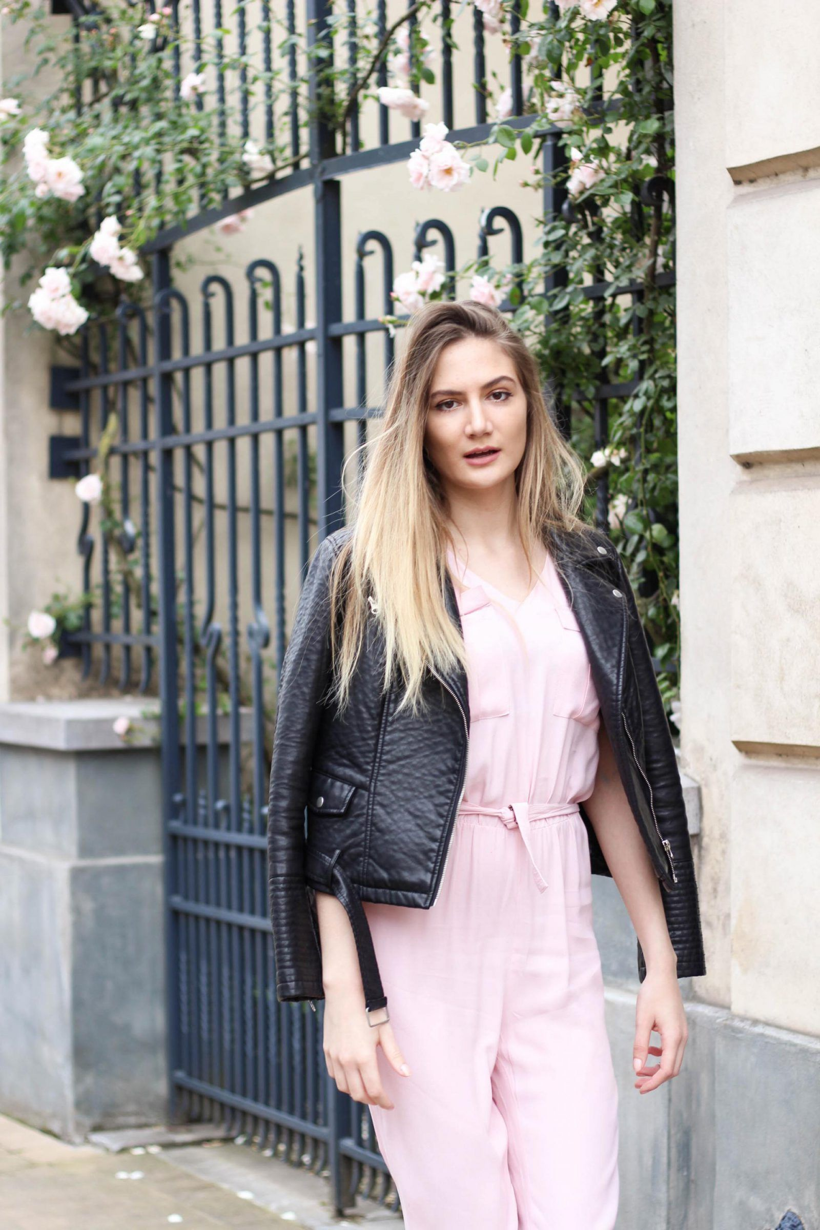 Leather jacket in summer - Pink Jumpsuit Black Leather Jacket Summer Outfit