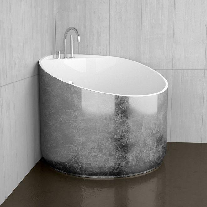 Baignoire Tub D Angle Mini Silver En Bi Mat Diam 95 Cm Ht 76 Cm