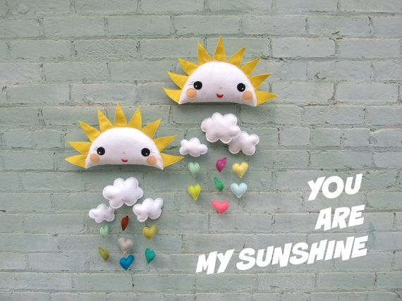 Sunshine Baby Mobile You Are My Nursery Decor Clouds Heart Room Spring