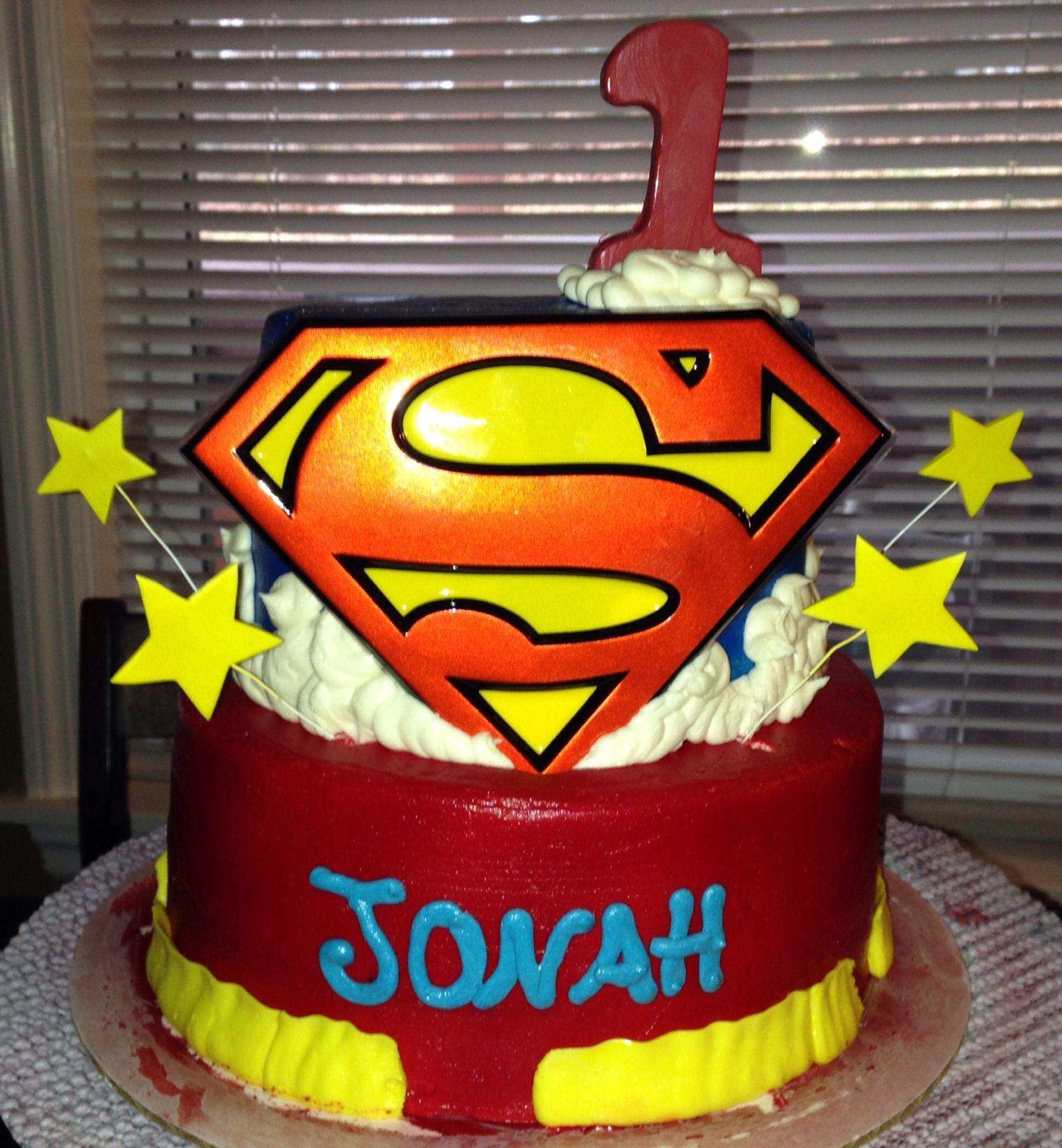 2 Tier Superman First Birthday Cake