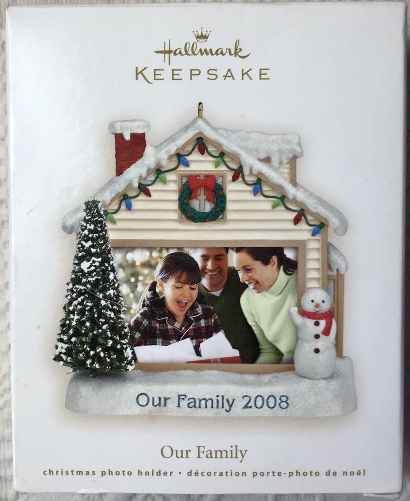 Hallmark 2008 Our Family Photo Holder Ornament Frame House Snowman