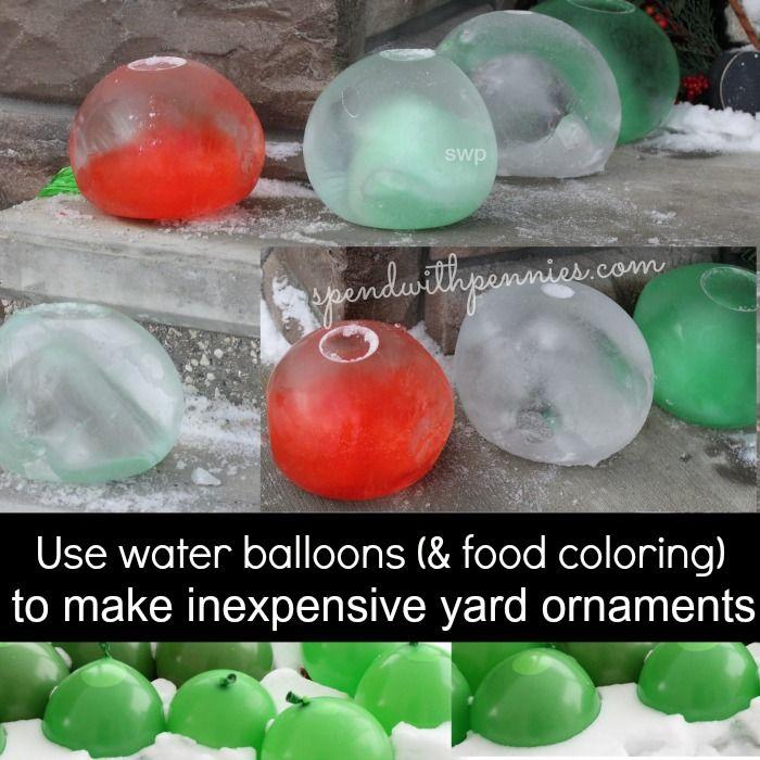 Make Frozen Waterballoon Yard Ornaments