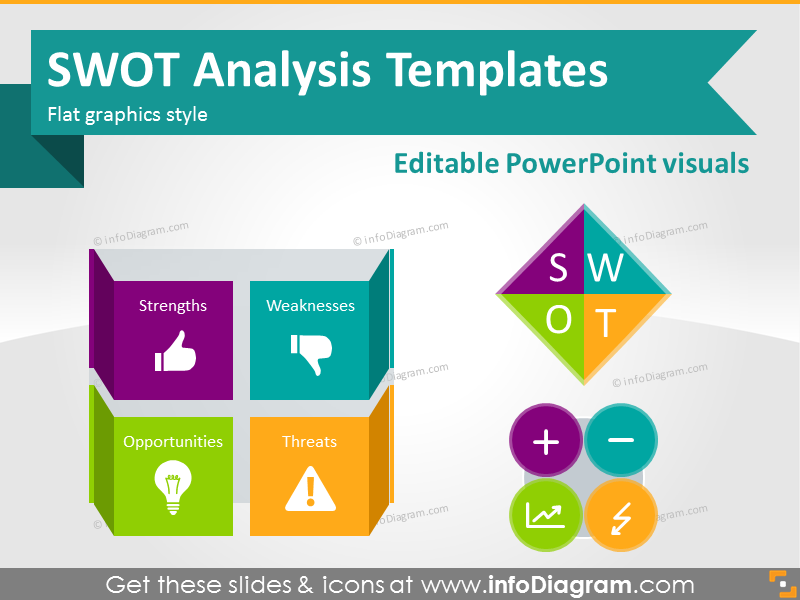 swot analysis template diagrams ppt icons flat style graphics