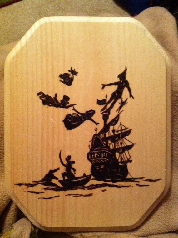 Pyrography Wood Burned Peter Pan Silhouette By