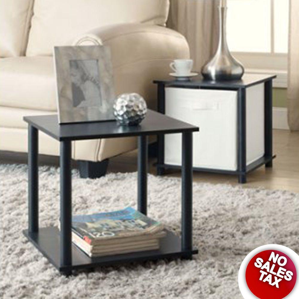 Modern End Table Set Of 2 Side Tables Storage Shelf Living Room Furniture Blac Storage Furniture Living Room Black Furniture Living Room
