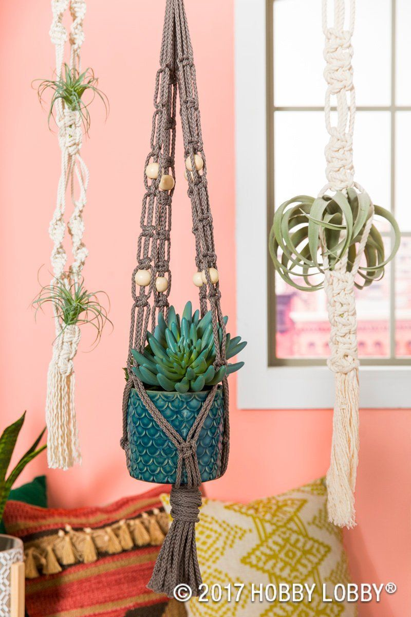 Create More Table Space With These Adorable Macrame Hanging Planters Crafts Macrame Projects Macrame Hanging Planter
