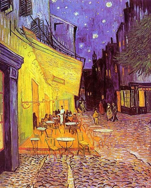 Terraço do café em arles à noite, 1888 # vincent van gogh # pós ...