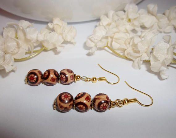 Brand New Handmade Earrings Costume Jewelry Wood Beaded Beads Brown