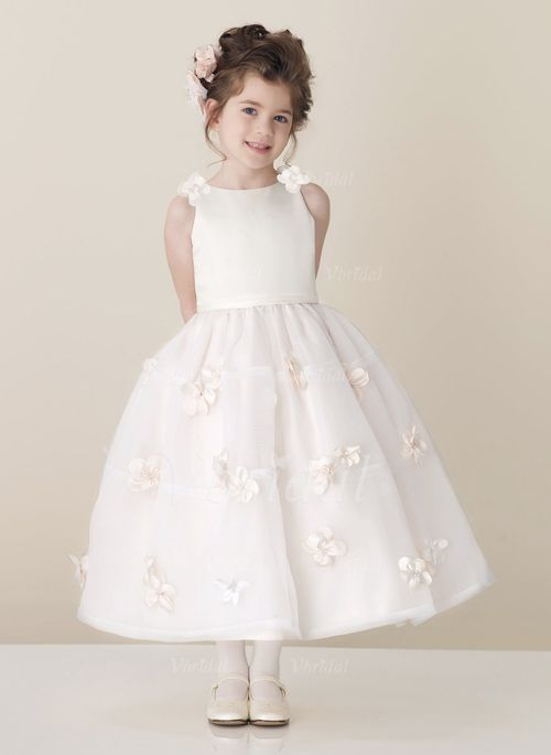 Flower Girl Dresses - $112.99 - A-Line/Princess Scoop Neck Ankle-Length Organza Satin Flower Girl Dress With Sash (01005009529)