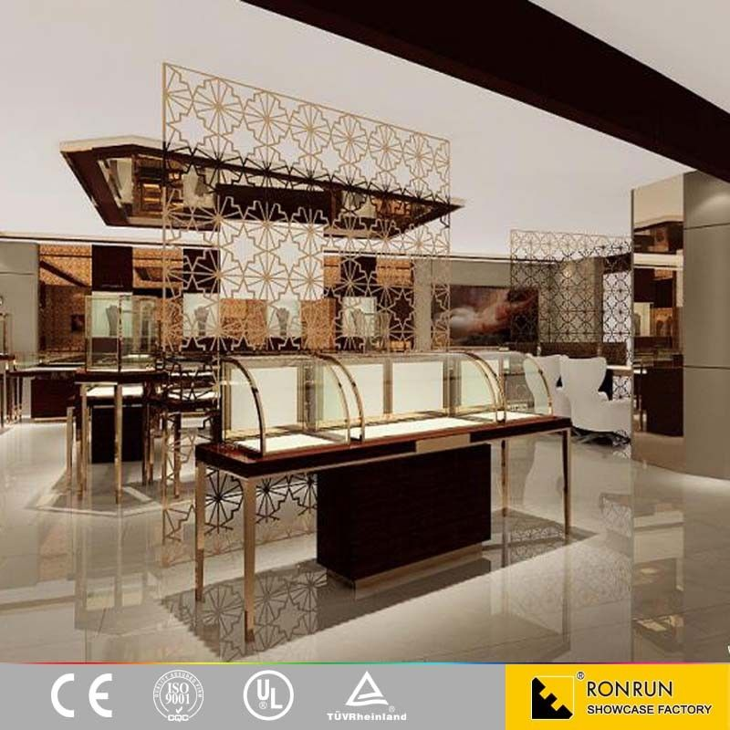 Boutique Shop Counter Design Stainless Steel Jewelry Display Showcase With LED Light For Interior Ideas
