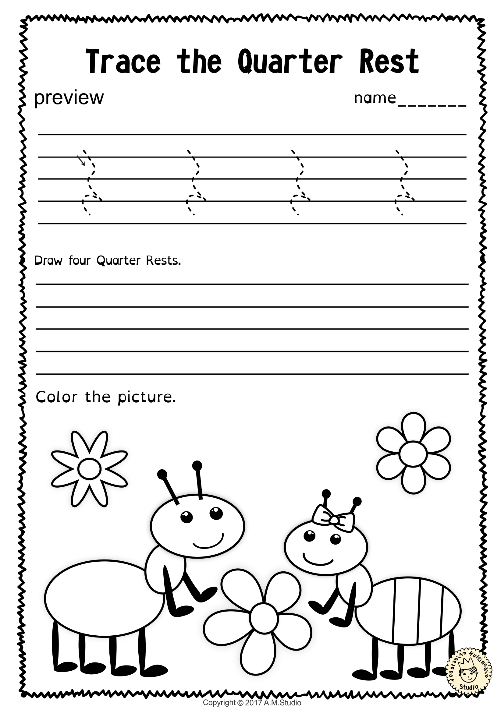 Tracing Music Notes Worksheets For Spring With Images