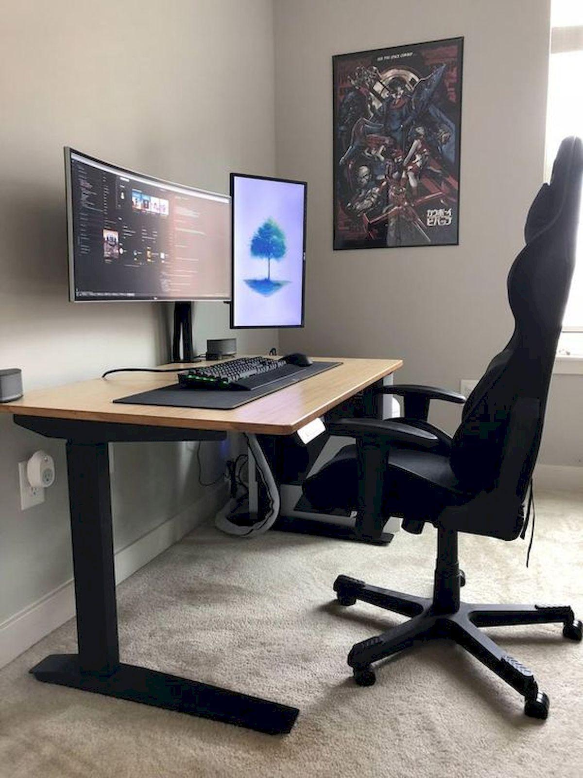 22 Diy Computer Desk Ideas That Make More Spirit Work Enthusiasthome Home Office Setup Home Office Design Diy Computer Desk